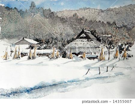 水彩 寒冬 冬天景色 14355007