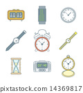 colored outline various watches clocks icons set 14369817