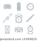 dark outline various watches clocks icons set 14369820