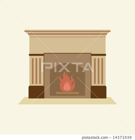 Modern Flat Design Fireplace 14371039