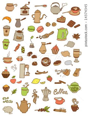 Coffee and tea icons 14374345