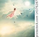 flying, youthful, women 14376287