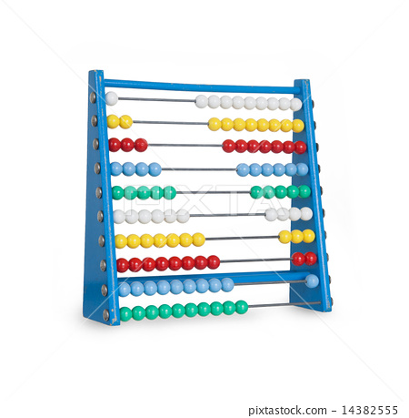 Old abacus on white 14382555