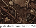 Sea concept on a wooden table background 14386759