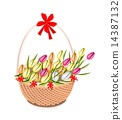 Brown Basket of Beautiful Fresh Tulip 14387132