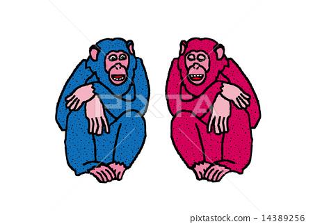 猴子的五顏六色的例證普遍的年充滿的新年卡片材料 14389256