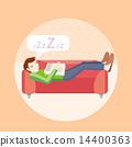 Man sleeping on sofa 14400363