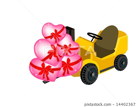 Forklift Truck Loading A Stack of Hearts 14402367