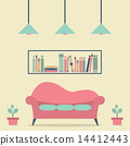 Modern Design Interior Sofa and Bookshelf 14412443