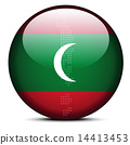 Map with Dot Pattern on flag button of Maldives 14413453
