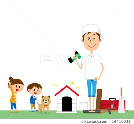 부모와 자식 DIY 개집 흰색 배경 14416031