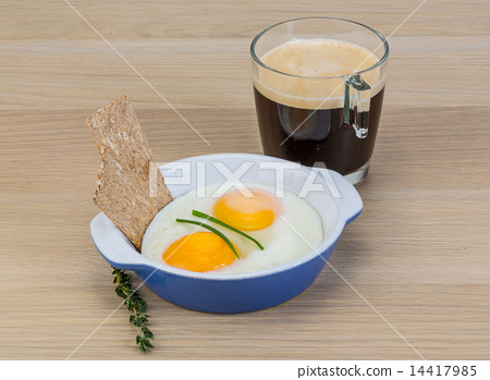 Breakfast with eggs and coffee 14417985