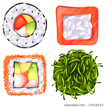 Topview of the different Japanese foods 14428445
