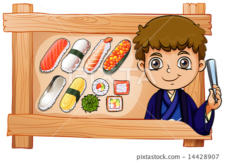 A frame with a boy beside the delectable sushi 14428907