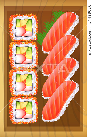A topview of the different variants of sushi at the table 14429026