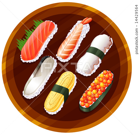 A topview of the different flavors of sushi 14429564