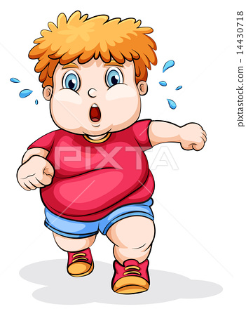 A fat Caucasian kid running 14430718