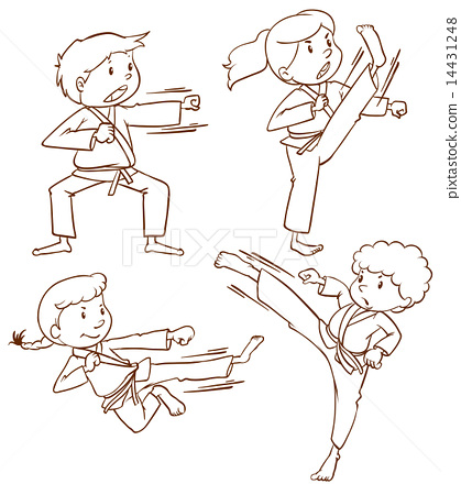 Sketches of people doing martial arts 14431248