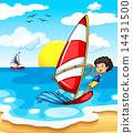 A teenager enjoying the beach 14431500