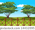 A beautiful landscape with a fence 14432095