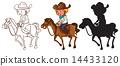 Sketches of a man riding a horse 14433120