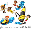 A group of people enjoying the watersport activities 14433418