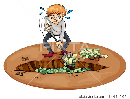 A man digging the money in the pit 14434195