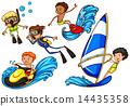 Boys enjoying the watersport activities 14435358