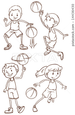 A simple sketch of the people playing basketball 14436430