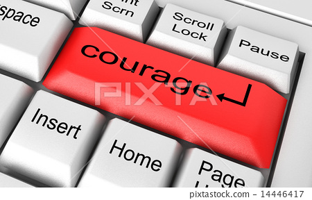 courage word on white keyboard 14446417
