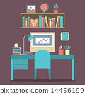 Flat Design Workplace 14456199