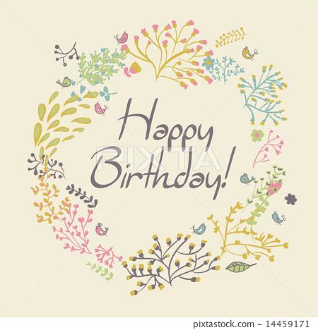 happy birthday greeting card. circle floral frame 14459171