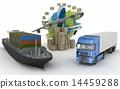 Cardboard boxes around globe, cargo ship, truck an 14459288