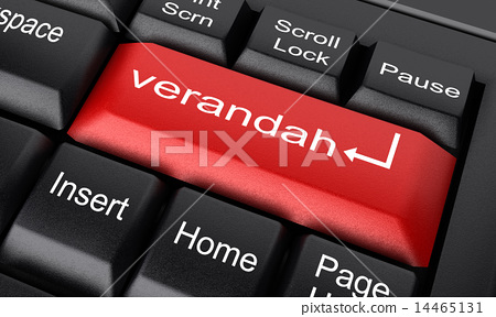 verandah word on red keyboard button 14465131