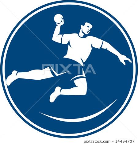 Handball Player Jumping Throwing Ball Icon 14494707