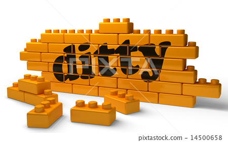 ditty word on yellow brick wall 14500658