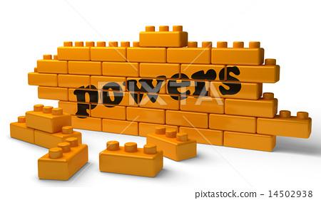 powers word on yellow brick wall 14502938