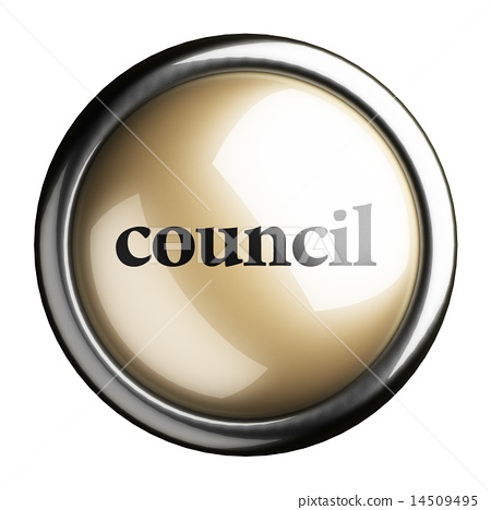 council word on isolated button 14509495