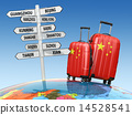 Suitcases and signpost what to visit in China. 14528541