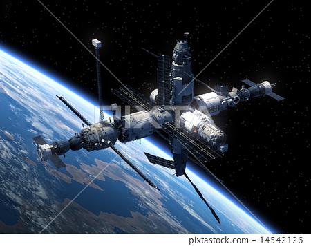 Stock Illustration: Space Station Orbiting Earth