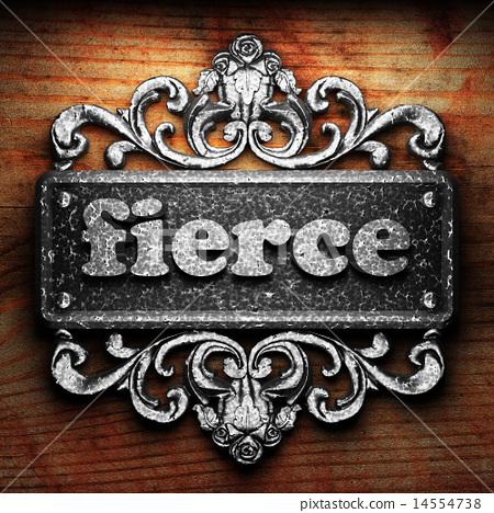 fierce word of iron on wooden background 14554738