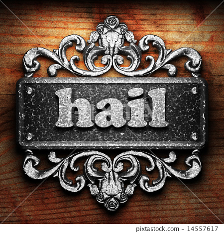 hail word of iron on wooden background 14557617