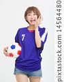 사무라이 블루의 유니폼을 입은 귀여운 여자 아이 14564480
