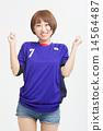 사무라이 블루의 유니폼을 입은 귀여운 여자 아이 14564487