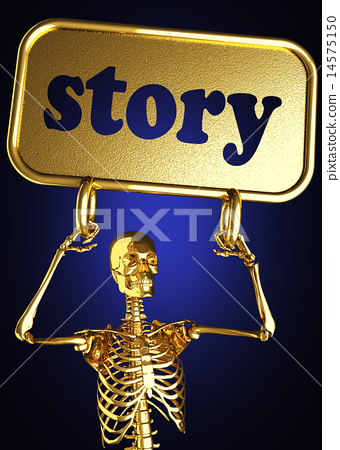 story word and golden skeleton 14575150