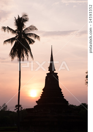Stupa and palm tree silhouette 14593352