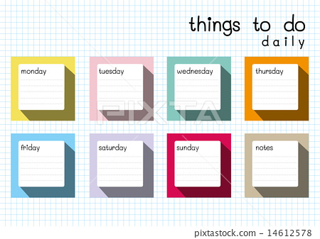 Things To Do Daily Blank Template Long Shadow 14612578
