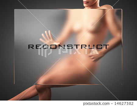reconstruct word on glass and woman 14627382