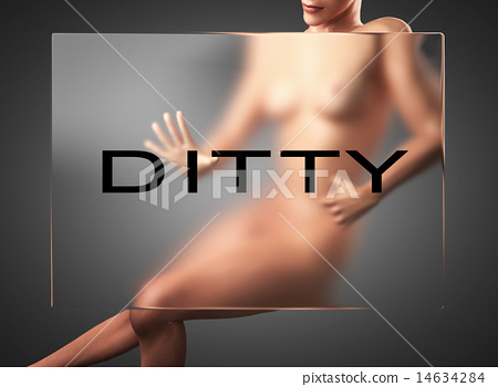 ditty word on glass and woman 14634284