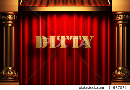 ditty golden word on red curtain 14677076